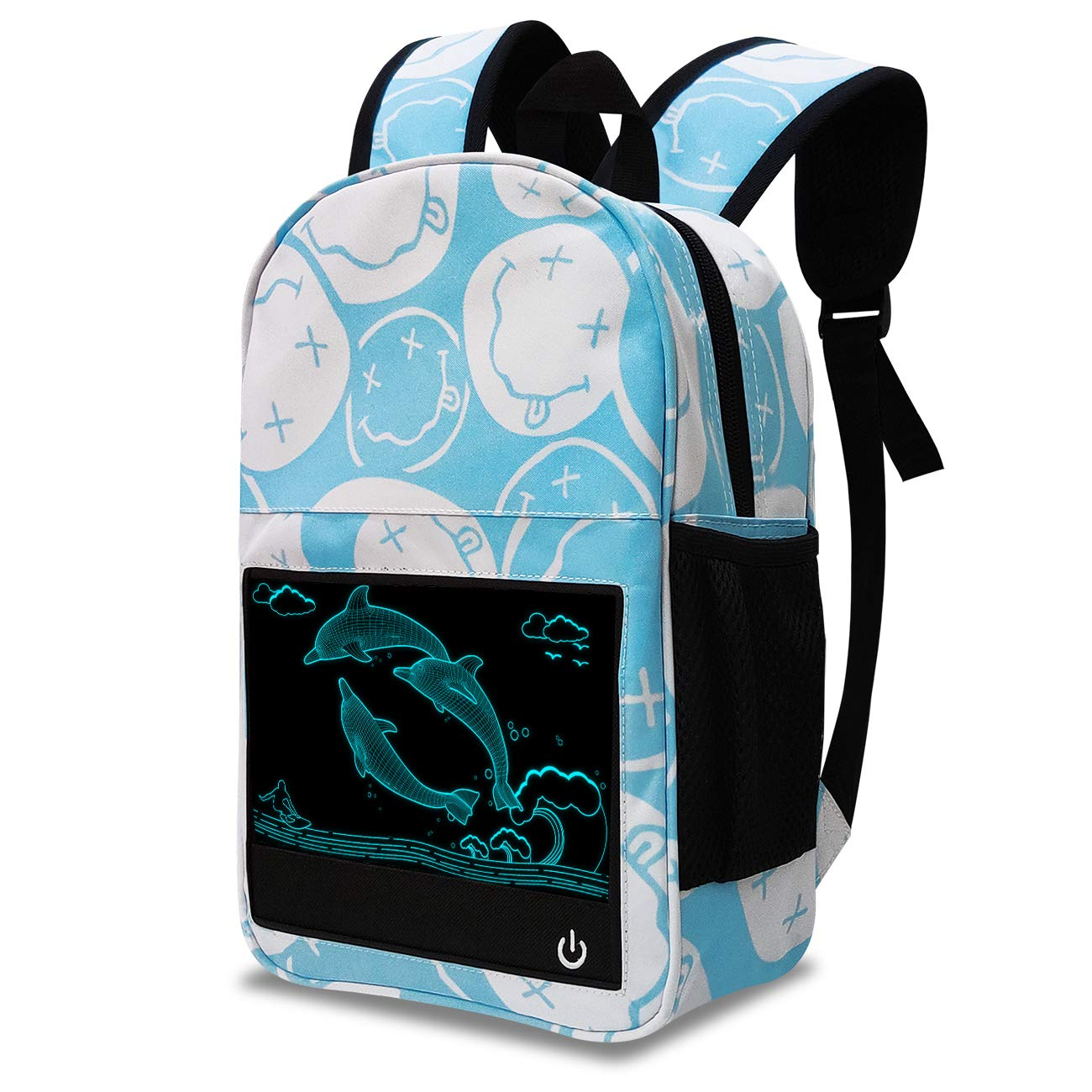 FULLOSUN Kids Backpack with 7 Colors Changing LED Dolphin Light Toddler Mini Travel Bag for Baby Kids Boy Girl 3-9 Years Luminous Study Gift -Blue