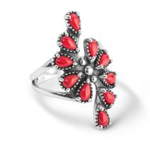 American West Sterling Silver Red Coral or Sleeping Beauty Turquoise Gemstone Cluster Ring Size 5 to 10