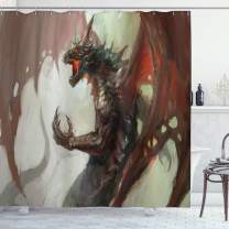 """Ambesonne Medieval Shower Curtain, Ilustration of Mythological Creature Dragon Imaginary Culture Animal Art, Cloth Fabric Bathroom Decor Set with Hooks, 75"""" Long, Red Brown"""
