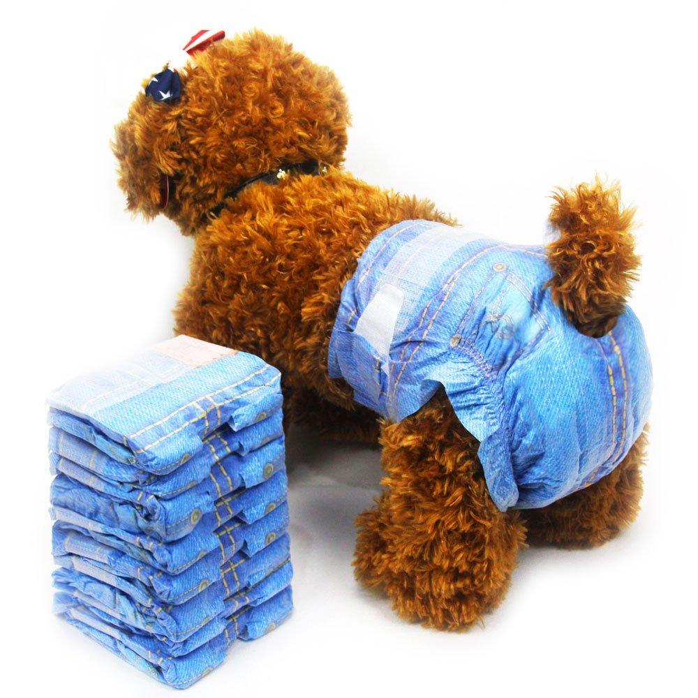 Disposable Dog Diapers for Female Dogs - Dono Jeans Super Absorbent Soft Pet Diapers for Female Puppy Dogs, Including 24pcs Diapers(3 Pack,24pcs)