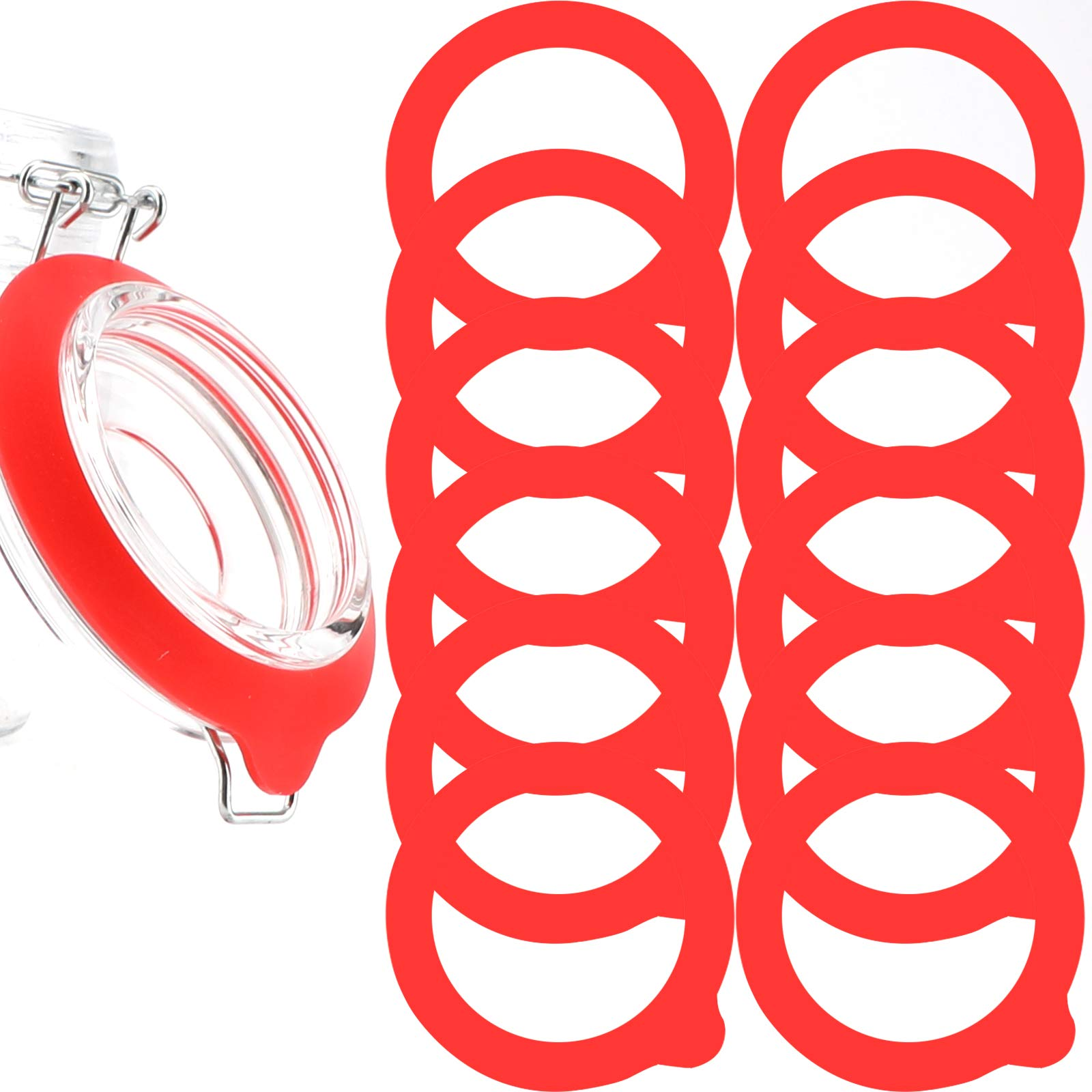 LUTER 12Pcs Silicone Jar Gaskets Replacement, Leak Proof Silicone Gasket Airtight Seals Rings for Mason Jar Lid, Regular Wide Mouth Glass Jars (Red)