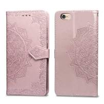 Cmeka Slim Wallet Kickstand Case for iPhone 6s Plus/iPhone 6 Plus, 3D Relief Mandala Flower Flip Magnetic Leather Back with Card Solts Holder Phone Cover (Rose Glod)