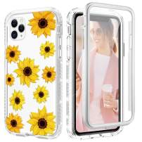 Caka Flowre Case for iPhone 11 Pro Case Girly Girls Women Sunflower Floral Glitter Diamond Full Body Shockproof Bling Shining Clear Phone Case for iPhone 11 Pro (2019) (Sunflower)