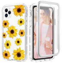 Caka Flower Case for iPhone 11 Pro Max Case Girly Girls Women Sunflower Protective Full Body Shockproof Glitter Bling Crystal Floral Heavy Duty Clear Phone Case for iPhone 11 Pro Max (Sunflower)