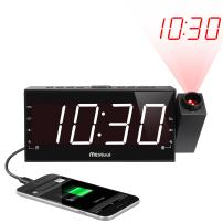 "Mesqool Projection Alarm Clock for Bedroom - AM FM Radio & Sleep Timer, 180° Projector, 7"" Large Digital LED Display&Dimmer, Dual Alarms, USB Charger, Battery Backup Desk Wall Ceiling Plug -in Clock"