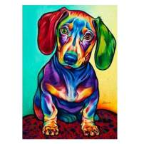MXJSUA 5D Diamond Painting by Number Kit DIY Crystal Rhinestone Arts Craft Picture Supplies for Home Wall Decor,Dachshund Sausagedog - 11.8x15.7 inches