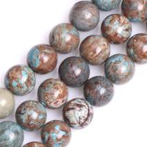 """GEM-Inside 12mm Round Dyed Blue Crazy Lace Agate Smooth Gemstone Loose Beads Energy Stone Power Beads for Jewelry Making 15"""""""