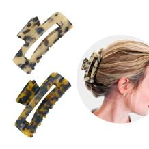 COLAPOO 2-Pack Hair Claw Clips for Women Ladies,Acrylic Rectangle Hair Clamp with Strong Hold for Women,3.2 inches Hair Jaw Clip Suitable for using at home & outside (Leopard+Deep Leopard)