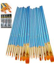 AOOK 20 Pieces Paint Brush Set Professional Paint Brushes Artist for Watercolor Oil Acrylic Painting (2-Pack 20PCS Blue)