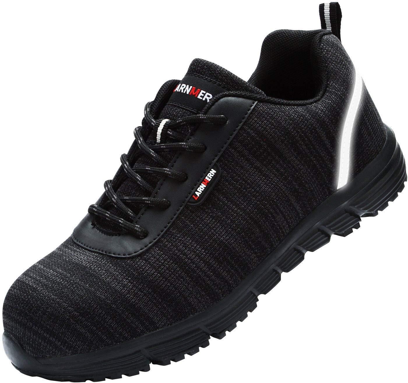 LARNMERN Safety Steel Toe Work Shoes, S1P, SRC Lightweight and Breathable Construction Industrial Shoes