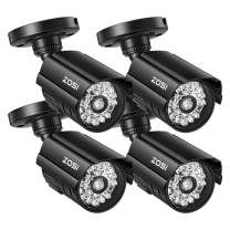 ZOSI 4 Pack Dummy Security CCTV Camera Bullet with One Realistic Simulated LED Light, Fake Surveillance Camera Outdoor Indoor for Home or Business Security