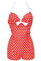 Kiddom Women's Polka Dots Conservative Bathing Suit Boy-Leg One Piece Swimsuit