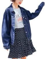 KAMA BRIDAL Women's Boyfriend Denim Jackets Long Sleeve Oversized Loose Jean Coat