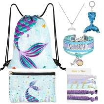 WERNNSAI Mermaid Drawstring Pack - Blue Sequins Mermaid Gift for Girls Drawstring Backpack Cosmetic Swimming Pencil Zipper Bag Bracelet Necklace Hair Ties Key-chain with Packing Box