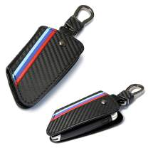 iJDMTOY M-Colored Stripe Black Carbon Fiber Pattern Leather Key Holder with Keychain Compatible With 2016-up BMW X1, 2019-up X4, 2014-up X5, 2015-up X6, 2017-up 5 Series & 2016-up 7 Series Remote Fob