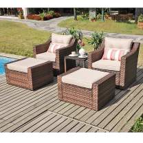 SUNSITT Outdoor Furniture Sofa Set 5-Piece Brown Wicker Lounge Chair & Ottoman Set with Neutral Beige Cushions & Side Table w/Aluminum Top