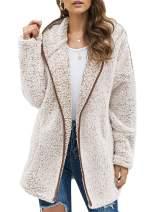 Sidefeel Women Open Front Hooded Cardigan Fleece Pocket Coat Outwear