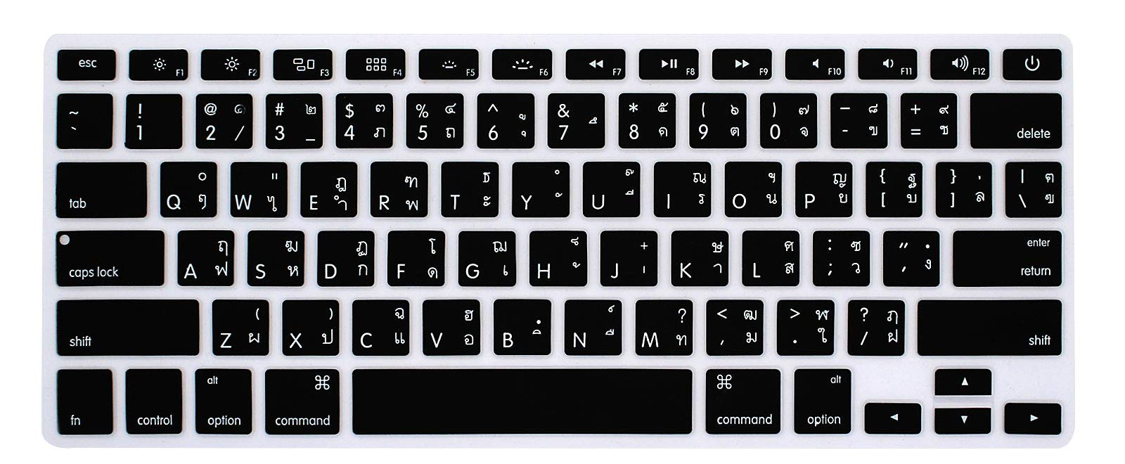 HRH Thai Silicone Keyboard Cover Skin for MacBook Air 13,MacBook Pro 13/15/17 (with or w/Out Retina Display, 2015 or Older Version)&Older iMac USA Layout Keyboard Protector-Black