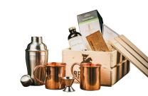 Moscow Mule Cocktail Kit Gift Set (Copper Mug Set 100% Pure Solid Copper) - Moscow Mule Bar Kit - Comes in A Wooden Gift Crate - Great Gift For Men - Cocktail Kit For Men