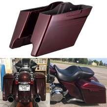 Mysterious Red Sunglo 4 1/2 inch Extended Saddlebags Burgundy Pinstripe Stretched Saddlebags Fit for 2014-2019 Harley Touring Road Street Glide Special Electra Glide