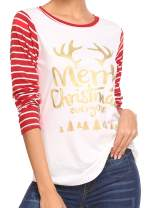EASTHER Women Reindeer Long Sleeve Striped Pullover Letter Print Ugly Christmas Party T Shirts