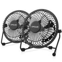 OPOLAR USB Desk Personal Fan, Small and Quiet, Metal Design for Home Office Personal Cooling, Two Pack