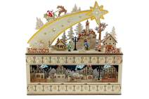 """Clever Creations Shooting Star Snowy Village 24 Day Advent Calendar Premium Christmas Décor   Painted Characters   100% Wood Construction   Cute Holiday Decoration   Measures 17"""" x 4"""" x 17.25"""""""