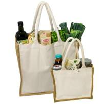 Simple Ecology Organic Canvas & Jute Reusable Tote and Grocery Shopping Bag - XL & Mini Tote Set of 2 (heavy duty, comfortable & durable handles, foldable, craft & gift bag, handbag)