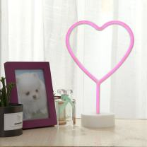 GUOCHENG Heart Neon Lights Led Neon Night Light Wall Table Decor Battery Operated Creative Lighting Lamp Home Decoration Party Decoration Gift for Kids(Pink Heart)
