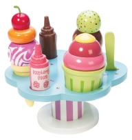 Le Toy Van - Educational Wooden Toy Honeybake Colourful Wooden Carlo's Gelato Pretend Ice Cream Toy | 12 Pieces - Great Role Play Gifts For A Boy Or Girl - 2+ Years