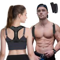 Posture Corrector for Women and Men KarmaRebirth Updated Slim Upper Back Brace with Back Reflective Line Shoulder Cushion Adjustable Clavicle Brace Improves Posture Relieve Pain from Back
