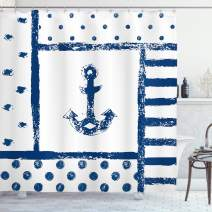 """Ambesonne Anchor Shower Curtain, Grunge Murky Boat Anchor Silhouette with Polka and Stripe Retro Navy Theme Art, Cloth Fabric Bathroom Decor Set with Hooks, 75"""" Long, Blue White"""