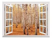 "wall26 Removable Wall Sticker/Wall Mural - Autumn Birch Forest   Creative Window View Wall Decor - 36""x48"""