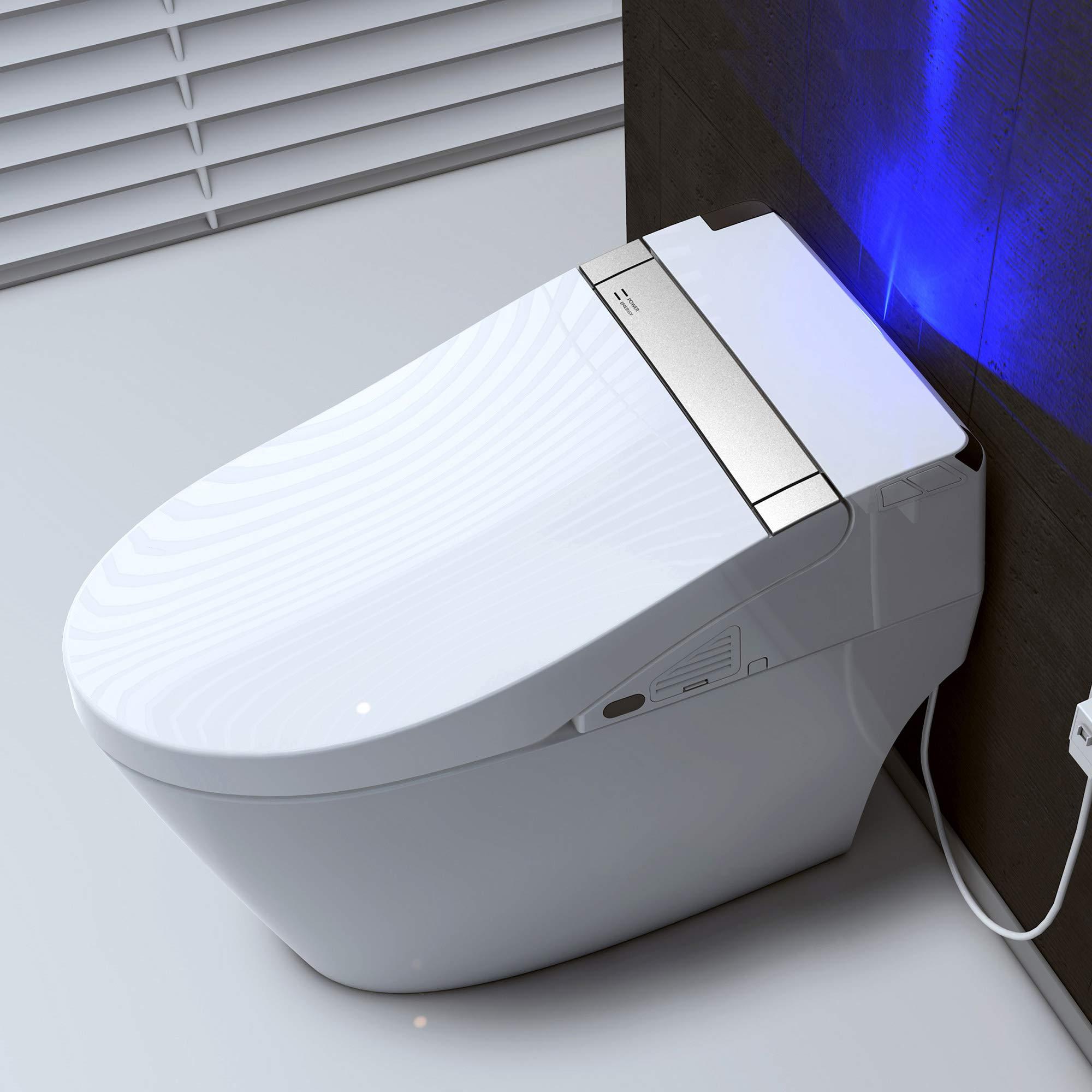 WOODBRIDGE B0960S White Elongated One Piece Toilet with Advance Bidet and Soft Closing Seat, Dual Flush 1.0/1.6 GPF