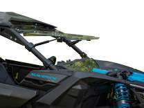 SuperATV Can Am Maverick Windshield: Scratch Resistant Flip Window | Fits Can-Am Maverick X3 Turbo/Max/RS/MR Models - Upper, Lower, and Middle UTV Windshields - Powersport Accessories and Parts