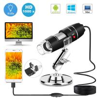 USB Microscope 8 LED USB 2.0 Digital Microscope, 40 to 1000x Magnification Endoscope Mini Camera with OTG Adapter and Metal Stand, Compatible with Mac Window 7 8 10 Android Linux by Sunnywoo (Black 1)