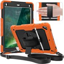 timecity iPad 9.7 Case, iPad 6th/5th Generation Case with Pencil Holder, 360° Rotatable Stand with Hand Strap Shoulder Strap, Built-in Screen Protector Schockproof iPad 6 Generation Case-Black+Orange