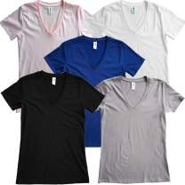 Good Life Women's 100% Cotton V-Neck T-Shirts 6.25 oz Mid Weight Preshrunk 5-Pack