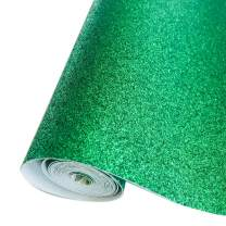 """Sov Sparkly Superfine Glitter Leather Sheets Shiny Faux Fabric Canvas Perfect for Craft DIY Handmade Projects Patchwork Bow Craft Key Chain 8"""" x 53"""" (21 cm x 135 cm) 1 roll (Green)"""