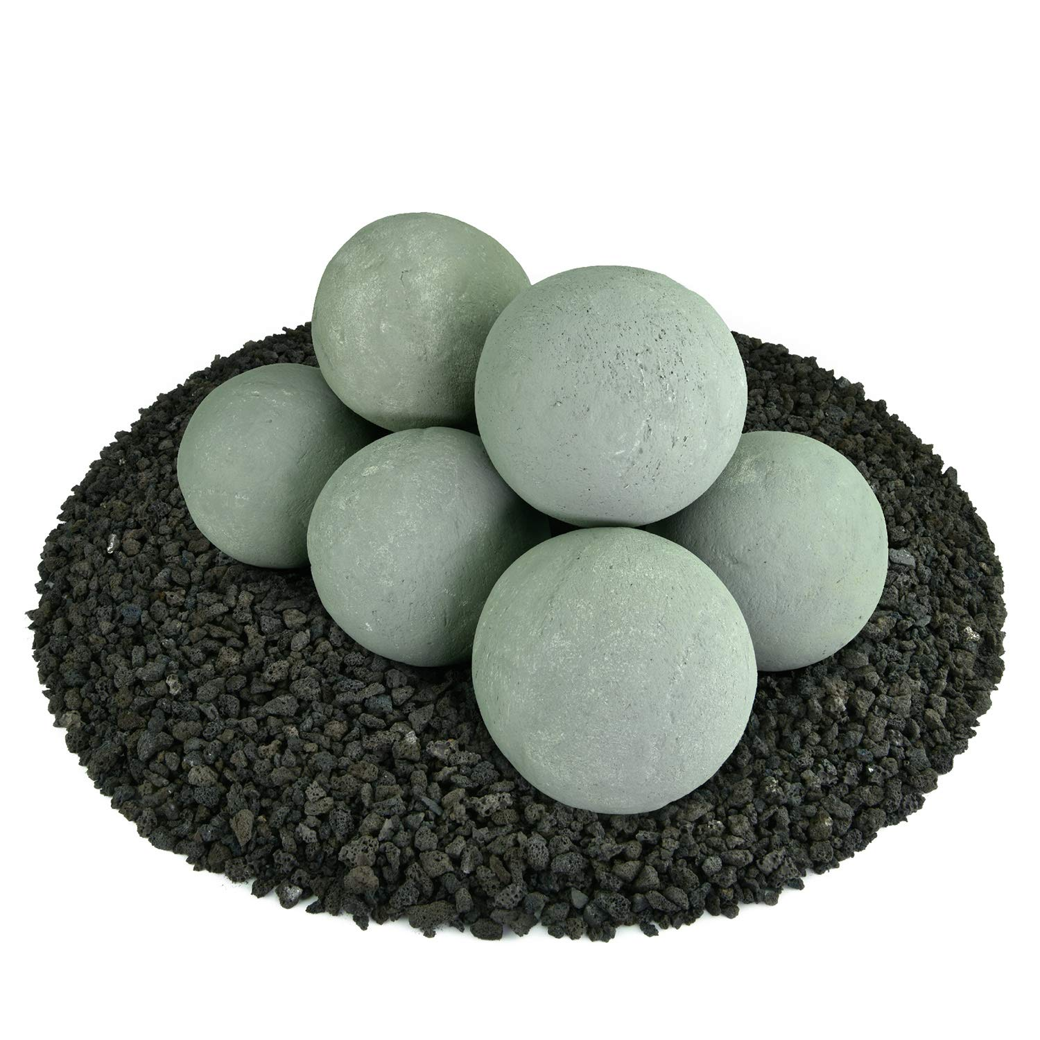 Ceramic Fire Balls | Set of 8 | Modern Accessory for Indoor and Outdoor Fire Pits or Fireplaces – Brushed Concrete Look | Pewter Gray, 5 Inch