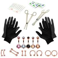 BodyJ4You 35PC Professional Piercing Kit Multicolor Steel 14G Double CZ Belly Navel Ring Set