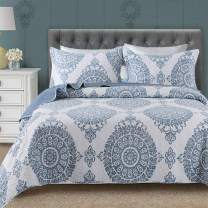 Travan 3-Piece Quilt Set Quilted Bedspread Lightweight Coverlet Set Floral Printed Oversized Quilted Bedding Set with Shams for All Season, Blue Floral, Queen