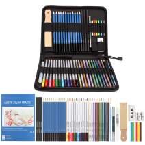 AGPTEK 53pcs Drawing and Sketching Pencil Set, with Pencil, Watercolor Pencil, Sketching Pencil Set & Canvas Zipper Case, Ideal for Artists, Sketchers, Teachers & Students