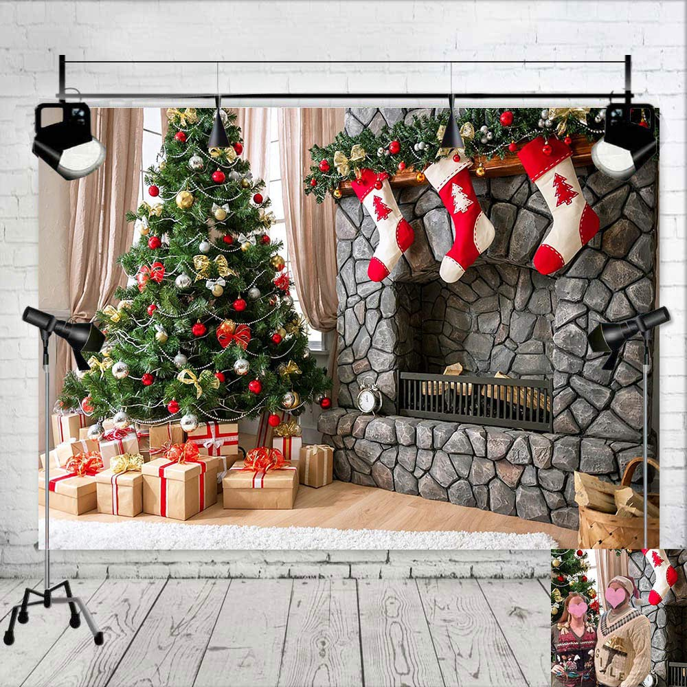 Christmas Tree Stocking Photo Background Winter Home Decorations 7x5ft Vinyl Baby Shower Supplies Fireplace Xmas Photography Backdrop Kids Birthday Photo Booths Studio Props Party Banner