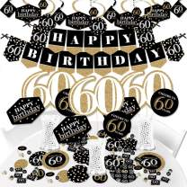 Big Dot of Happiness Adult 60th Birthday - Gold - Birthday Party Supplies - Banner Decoration Kit - Fundle Bundle