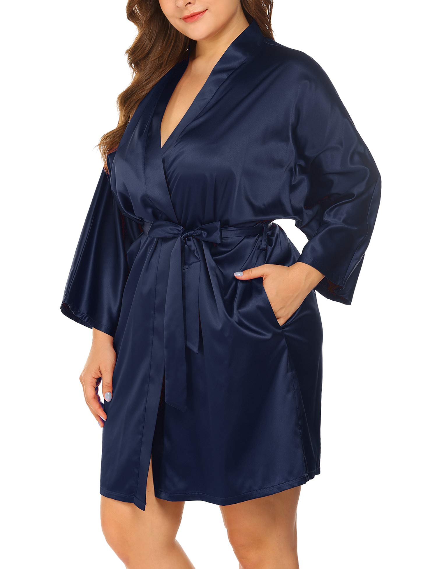 IN'VOLAND Women's Plus Size Robe Kimonos 3/4 Sleeve Satin Robes Silky Bathrobe Sleepwear with Pockets(1X-6X)