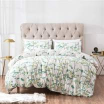 PinkMemory Farmhouse Floral Duvet Cover Set King Cotton Bedding Set Green Flowers Branches Printing with Butterfly, Botanical Bedding Cover Set-Ultra Comfy Breathable Zipper