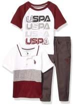 U.S. Polo Assn. Boys' Color Blocked Polo, T-Shirt, and Twill Jogger Set