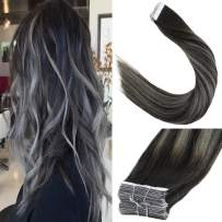 LaaVoo 22 inch 10Pcs 2.5g per piece 25g/Package Tape in Real Human Hair Extension Balayage Colorful Off Black Fading to Silver Straight Tape in Silky Hair For Women