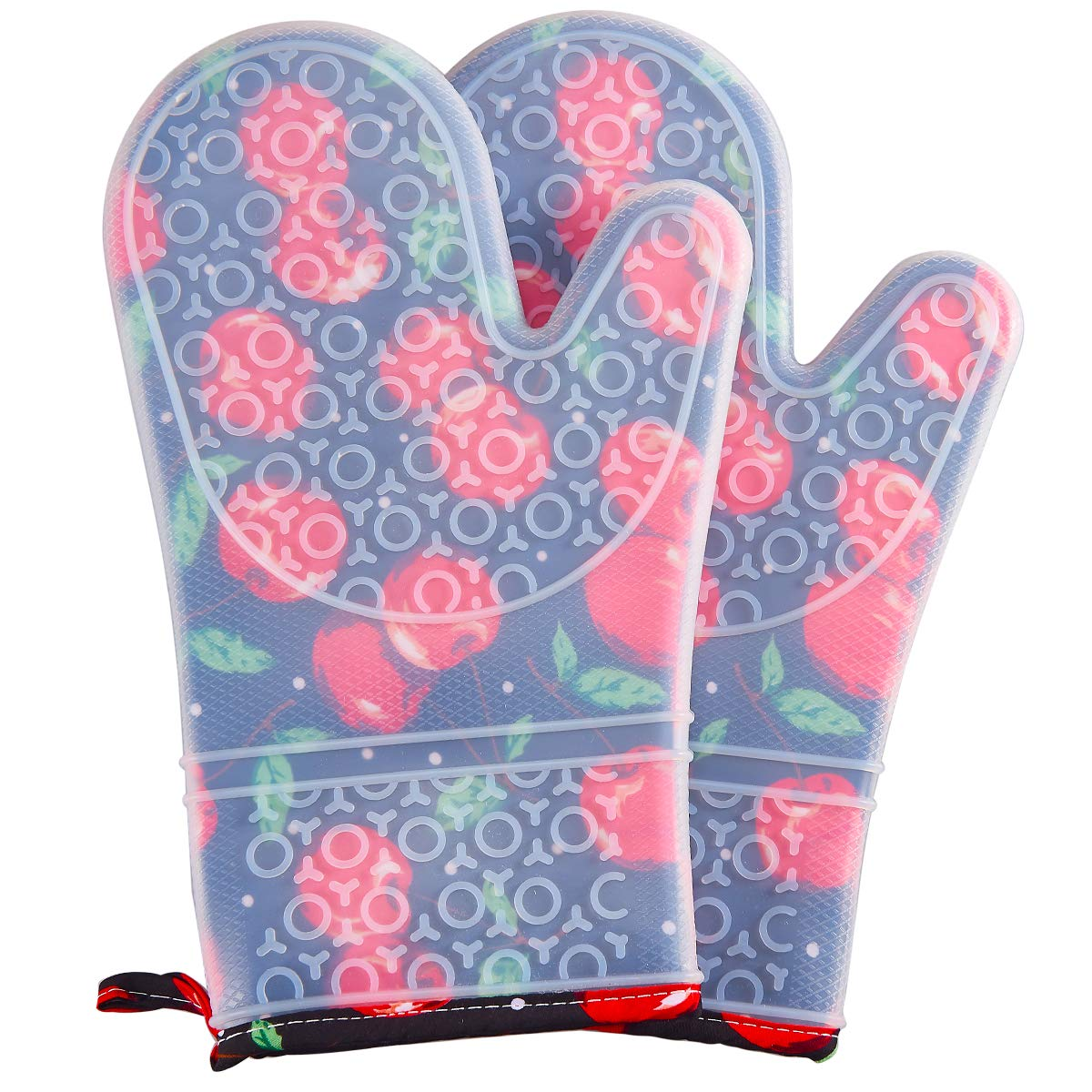 FAVIA Silicone Oven Mitts Heat Resistant to 480℉ Cooking Gloves for Grill BBQ Kitchen - Non-Slip & Waterproof BPA Free 1 Pair - Protective Cotton Lining (Medium, Black Base with Cherry)
